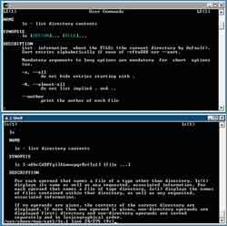 Figure 1. Cygwin, top, and SFU 3.5 have a similar command set. Here you can see them both displaying the man (manual) pages for the ls (list) command.
