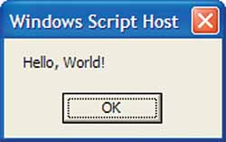 Figure 1.  Just by typing a simple message into Notepad, you've entered the world of scripting.