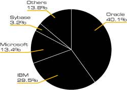 Database Market Share by Revenue, 2004